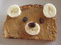 Healthy,sweet snack.peanut butter on toast with banana and raisin. Nx