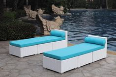 """White Wicker - UV Protected & Water Resistant Seating - Two Loungers by Modern Line Furniture. $999.95. The fabric covers have a standard UV 80 Protection for long lasting durability against sun elements.. Lounger Dimensions: Length 86.5"""" Depth 27.5"""" Height 27.5"""" Cushion Thickness 4"""". Soak up the sun with this set of (2) beautiful loungers.. The resin wicker materials are made to withstand all-weather elements.. -Constructed frame made of rust proof powdered coated al..."""