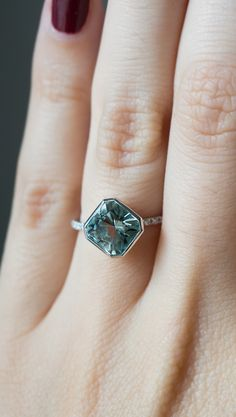 A 1.69ct Aquamarine in 14k White Gold ring handcrafted in NYC by S. Kind