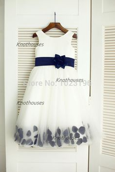 Ivory Satin Tulle Navy Blue Flower Sash Flower Girl Dress Children Toddler Dress for Wedding Junior Bridesmaid Dress-in Flower Girl Dresses from Weddings & Events on Aliexpress.com | Alibaba Group