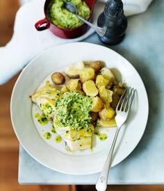 Roast blue-eye trevalla with spinach hollandaise