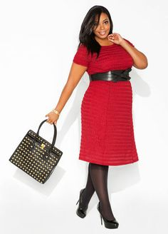 Ashley Stewart Textured A-line Dress and Patent Leather Studded Tote Bag