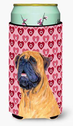 Mastiff Hearts Love and Valentine's Day Portrait Tall Boy Beverage Insulator Beverage Insulator Hugger