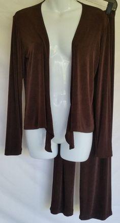 Chicos Travelers 0 Set 2 piece Open cardigan Jacket Pants Fluid Brown  #Chicos