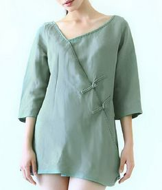 Side Slanting Plait Buttons Linen Shirt