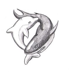 Dolphin/ Shark yin yang tattoo