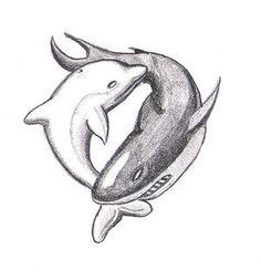 Dolphin/ Shark yin yang tattoo