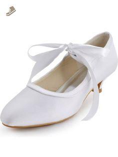 2d1febb89a6 Elegantpark EP41017 Mary Jane Women Closed Toe Ribbon Low Heel Satin Pumps Wedding  Bridal Shoes Ivory