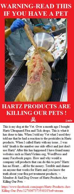 Hartz products are killing our pets... Please read this and go to the facebook... Awareness is the only thing that is going to stop Hartz....  (remember they supply a lot to vets clinics too....)  repin... I didn't know this till today either... this is not acceptable !!