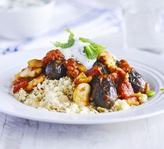 Lemon & mint aubergine tagine with almond couscous This Moroccan-inspired vegetarian stew is filled with all the delicious aromatics of North Africa. Serve on nutty couscous with mint and garlic yogurt Vegetarian Stew, Vegetarian Recipes, Healthy Recipes, Vegetarian Casserole, Healthy Dinners, Casserole Recipes, Yummy Recipes, Free Recipes, Dinner Recipes
