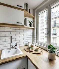 New kitchen design small apartments subway tiles 18 ideas Kitchen Corner, New Kitchen, Kitchen Small, Kitchen Wood, Kitchen Shelves, Open Shelves, Kitchen White, Kitchen Cabinets, Kitchen Living