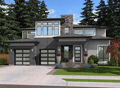 Tandem Garage and Optional Flex Space - 23518JD | Contemporary, Northwest, Prairie, Narrow Lot, 2nd Floor Master Suite, Bonus Room, Butler Walk-in Pantry, CAD Available, Den-Office-Library-Study, PDF | Architectural Designs