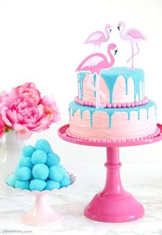 DIY Flamingo Birthday Drip Cake - Learn to make this stunning but super easy cake for a party, wedding, shower or summer celebration! - BirdsParty.com @birdsparty
