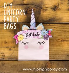 Amazing DIY unicorn party / swag bags - turn plain white paper bags into adorable unicorn favours which little guests will love to take home after your special occasion. With a printable template you can personalise online in minutes, download an instant PDF and print at home, making this a really cheap DIY project. Unicorns are always a winner! Perfect for birthday parties, weddings, Christenings or any celebration. You can craft these with your kids - so easy! www.hiphiphooray.com
