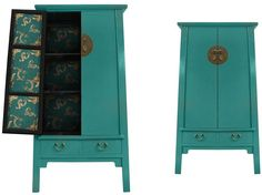 Chinese furniture, teal blue storage cabinet