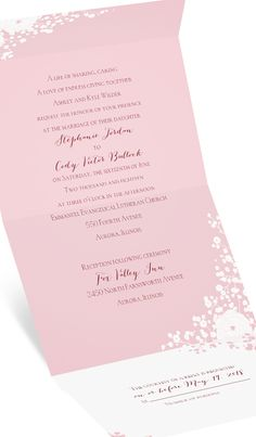 Babies breath style Seal and Send invitation. Shown personalized in pink. #dustypink #vintagewedding