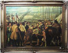 Diego Velázquez - A Rendição de Breda - reprodução gráfica/tela retocada à óleo - 87 X 120 cm - (mol