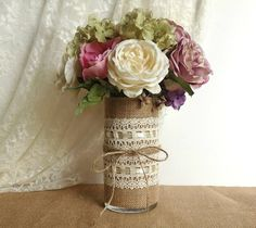 Items similar to burlap and lace covered votive tea candles and vase country chic wedding decorations, bridal shower decor, home decor on Etsy Cute Wedding Ideas, Diy Wedding, Rustic Wedding, Wedding Flowers, Lace Wedding, Just In Case, Just For You, Wedding Shower Decorations, Mason Jar Vases