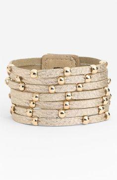 Sliced Leather Studded Bracelet