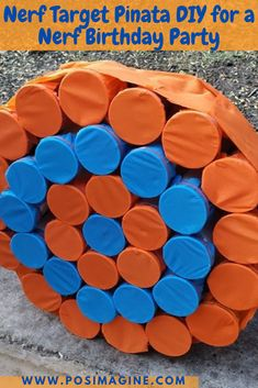 Learn how to make a Nerf target pinata, that is unusual, super easy, and fun for a nerf-themed birthday party! #nerf #birthday #pinata #party #posimagine www.posimagine.com Easy Crafts For Kids, Diy For Kids, Diy Crafts, Fun Party Themes, Party Ideas, Party Fun, Nerf Birthday Party, Pinata Party, Fruit Decorations