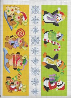 Xmas Cross Stitch, Cross Stitch Borders, Counted Cross Stitch Patterns, Cross Stitching, Christmas Perler Beads, Baby Bibs Patterns, Christmas Bird, Bead Loom Patterns, Canvas Crafts