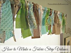 Precious for the laundry or a child's room! How to Make a Fabric Strip Valance - A DIY, No-Sew Window Treatment. all you need is a curtain rod and several different fat-quarters of fabric. Cool Ideas, Modern Country, No Sew Curtains, Fabric Strip Curtains, Fabric Garland, Garlands, No Sew Valance, Blackout Curtains, Fabric Strips