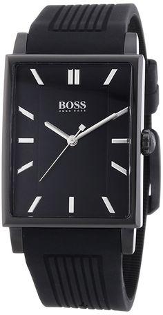 Montre Hugo Boss Homme Noir 1512953 - Quartz Analogique - Cadran Acier inoxydable Noir - Bracelet Silicone Noir