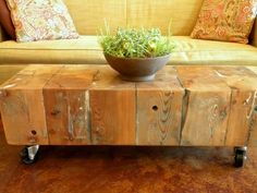 Recycled barn wood, casters
