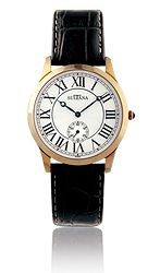 Model 367103 Mens Sultana watch Black leather and rose gold plated Rose Gold Plates, Black Leather, Jewels, Watches, Model, Accessories, Bijoux, Clocks