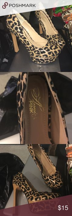 CHEETAH PRINT PLATFORM SHOES 5 inch platform shoes in excellent condition, only worn once. Shoes Platforms
