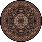 Persian Classics Isfahan Black 5 ft. 3 in. Round Area Rug