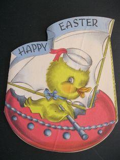 Vtg 1930 50's Easter Greeting Card Norcross Sailing Sailor Duck Boat Die Cut | eBay