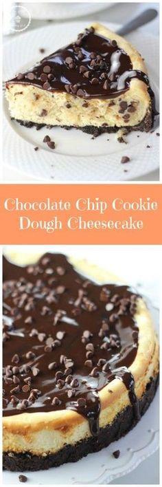 CHOCOLATE CHIP COOKIE DOUGH CHEESECAKE! Big hunks of chocolate chip cookie dough baked into a creamy cheesecake! #recipe #ontheblog #thegoldlininggirl #cheesecake #desserts