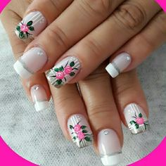 Creative Nail Designs, Creative Nails, Acrylic Nail Designs, Nail Art Designs, Gorgeous Nails, Pretty Nails, Spring Nails, Summer Nails, Rose Nails
