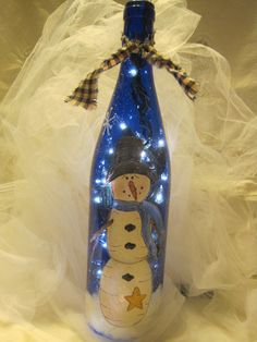 Personalized Snowman  Accent LightWine by CountryBumpkinBottle, $20.00
