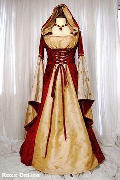 Gold taffeta & deep red hooded medieval dress