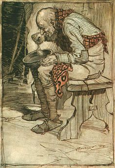Arthur Rackham - colour illustration for 'Fred and Kay' from the 1909 Edition of ''The Fairy Tales of the Brothers Grimm'' Harry Clarke, Arthur Rackham, Brothers Grimm Fairy Tales, Illustrator, Kay Nielsen, Vintage Fairies, Ecole Art, William Blake, Fairytale Art