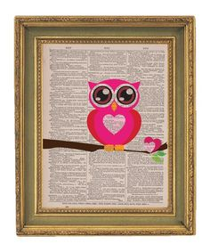 Owl Dictionary Art