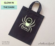 Having a family Halloween party?? Why not mark the occasion with this personalised Glow in the Dark Spider Halloween Trick or Treat Bag!! These Halloween treat bags can be personalized with any family name and make great Halloween party favors too!!  When ordering, please note the name required in Comments to Seller box during checkout.  Measurements; Personalised Black Glow in the Dark Spider Graphic Trick or Treat Bag - approx 38 x 43 cm  For our great range of Halloween t-shirts and goody…