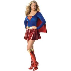 Rubie's Supergirl Costume Set ($30) ❤ liked on Polyvore featuring costumes, white halloween costumes, supergirl halloween costume, party halloween costumes, party costumes and white costumes