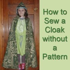 How to Sew a Cloak without a Pattern Hooded Cloak Pattern, Poncho Pattern Sewing, Sewing Patterns, No Sew Cape, Diy Cape, Sewing Basics, Sewing For Beginners, Basic Sewing, Kids Cape Pattern