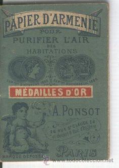 PAPEL DE ARMENIA. PURIFICADOR DE AIRE. PARIS.PAPIER D' ARMENIE. PURIFICADOR ANTISEPTICO.FARMACIA.XIX