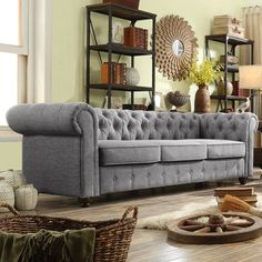 Birch Lane: Farmhouse & Traditional Furniture - Made to Last Living Room Grey, Living Room Sofa, Living Room Decor, Living Spaces, Living Rooms, Best Leather Sofa, Living Room Flooring, Chesterfield Sofa, Quites