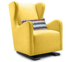 The Vola Glider in yellow looks stunning with Missoni fabric on the lumbar pillow - modern nursery furniture by Monte Design  #modernwingbackchair #yellownursery #nurserydecor