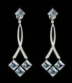 Platinum, Diamond and Aquamarine Earrings Fantasy Jewelry, Jewelry Art, Antique Jewelry, Vintage Jewelry, Fine Jewelry, Jewelry Design, Jewellery, Yoga Jewelry, Silver Jewelry