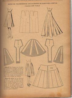Kleid & Rock mit Falten &2-färbigem Schnitt