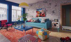 A decoração lúdica pode sim fazer parte de cômodos da casa como a sala se estar. Mesas coloridas e almofadas estampadas deixam o ambiente divertido e agradável.  #decoration #instadecor #instahome #casa #home #interiordesign #homedesign #homedecor #homesweethome #inspiration #inspiração #inspiring #decorating #decorar #decoracaodeinteriores #Mobly #MoblyBr #sala #color #almofada #lúdico #estampas