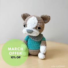 A personal favourite from my Etsy shop https://www.etsy.com/au/listing/508716513/boston-terrier-crochet-amigurumi-wearing