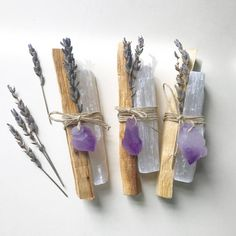 Original Inspired Restoration Bundles - Palo Santo, Selenite, Lavender with choice of Amethyst or Citrine Crystal Point - Idea for guest gifts – Original Inspired Restoration Bundles Palo Santo Selenite Crystals And Gemstones, Stones And Crystals, Healing Crystals, Palo Santo Wood, Dried Lavender Flowers, Lavender Wands, Lavender Crafts, Pot Pourri, Craft Ideas