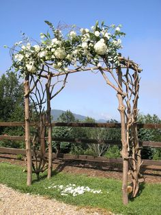 made by nature arbors | Rhododendron arbor approx. 5.5'wide, 3'deep, and 8' tall.